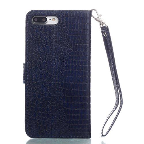 Coque iPhone 7 Plus, iPhone 8 Plus Coque, Voguecase Housse en PU Cuir avec Support Fonction Étui de Protection Magnétique avec Porte-cartes pour Apple iPhone 7 Plus/iPhone 8 Plus 5.5 (Crocodile grain  Crocodile grain II-Bleu