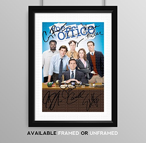The Office US Cast Signed Autograph Signature Autographed A4 Poster Photo Print Photograph Artwork Wall Art Picture TV Show Series Season DVD Steve Carrell Rainn Wilson (BLACK FRAMED & MOUNTED)