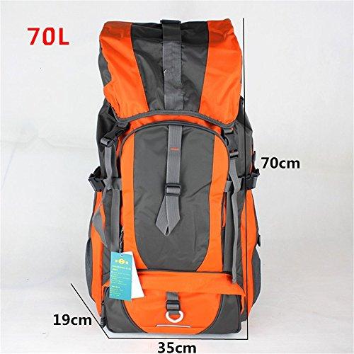 Zaino di outdoor zaino borsa a tracolla alpinismo grande capacità zaino escursionismo zaino da viaggio panno Oxford impermeabile (60L), Orange (80L) Orange (70L)