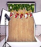 YongFoto 1,5x2,2m Foto Hintergrund Weihnachten Vinyl Holzbrett Weihnachtsdekoration Kieferzweige Strümpfe Bälle Fotografie Hintergrund Foto Leinwand Kinder Fotostudio 5x7ft