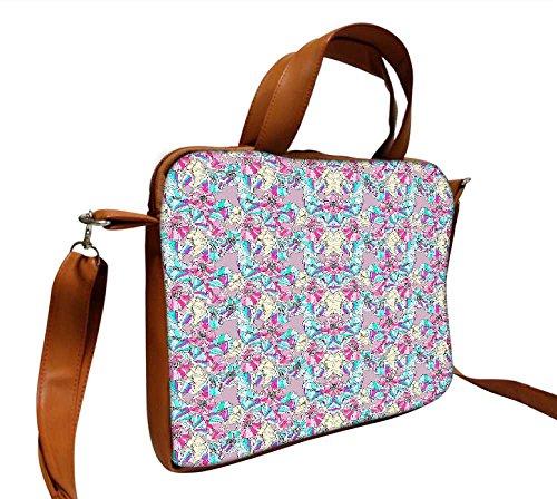 Snoogg Blume, Muster 35,6cm Zoll auf 36,8cm Zoll zu 37,1cm Zoll Kunstleder Laptop Notebook Schuber Sleeve, der Fall mit und Schultergurt für MacBook Pro Acer Asus Dell HP Sony Toshiba
