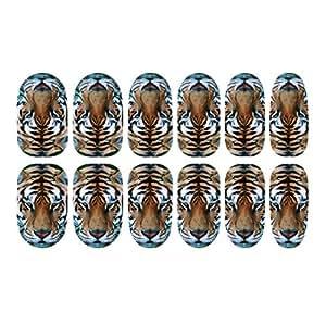 davidsonne nail art tip 3d tier tiger luminous glow aufkleber aufkleber blatt diy dekorationen. Black Bedroom Furniture Sets. Home Design Ideas