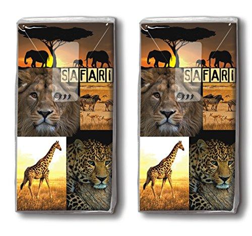 20 Taschentücher (2x 10) Safari Tour / Afrika / Giraffe /Löwe / Elefant / Tiger Motivtaschentücher