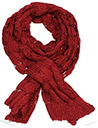 Laurel Warm Knit & Sequin Scarf christmas Scarf Festive Scarf Ladies Party Scarf in Red