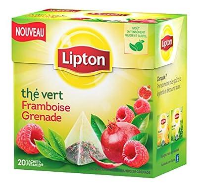 Lipton Thé Vert Framboise Grenade 20 Sachets 28 g