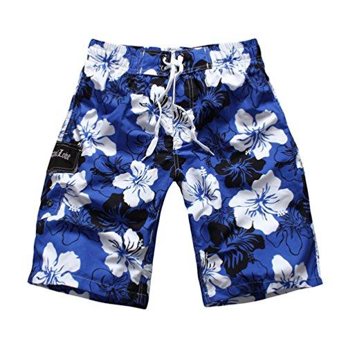 Niseng Homme Fleurs Impression Plage Shorts Séchage Rapide Board Shorts Surf Maillot De Bain SFoncéBleu