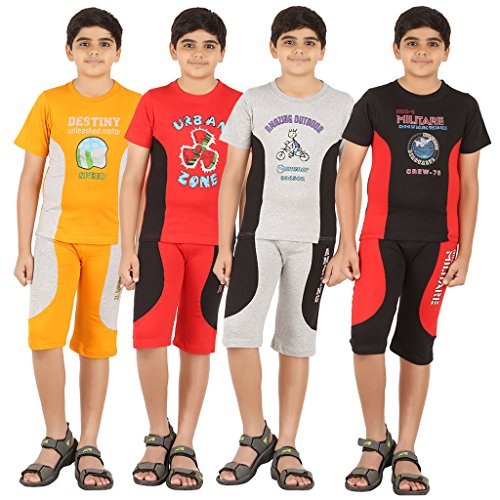 ZIPPY Combo Multi Color Boys Tshirt and Three Fourth Pant Pack of 4