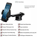 #5: Car Mobile Holder for Windshield and Dashboard with Super-Sticky Gel Pad and Advanced Telescopic Arm and Super Suction Cup for holding Smart Phones with 360 degree flexible rotation and easy to use ( Black)