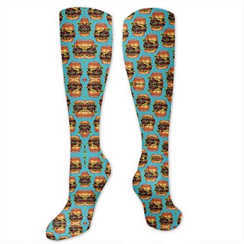 Double Cheeseburger Hamburger Unisex Knee High Sports Athletic Socks Polyester Tube Long Stockings