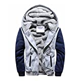 Herren Winterjacke,Moonuy Herren Boy M-5XL Hoodie Winter Warm Fleece Reißverschluss Pullover Charme Stilvolle Jacke Patchwork Hot Outwear Baumwollmantel in grau, rot, schwarz (Grau, M)