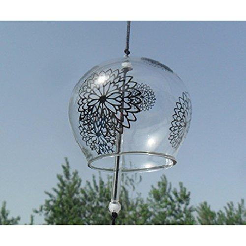 Japonais-Carillon, Cloche de vent en verre fait main Inscription s Valentine cadeau en forme de maison de cuisine décors Spa géant en forme de fenêtre Décors (chrysanthèmes)
