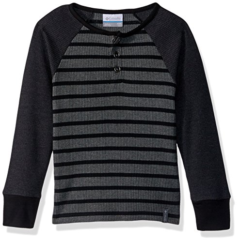 Columbia Big Boys Trulli Trails Thermal Henley, Black, Charcoal Heather Stripe, Large Black, Charcoal Heather Stripe