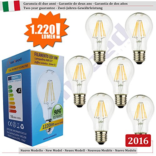 SunSeed, Zwei-Jahres-Gewährleistung, 6 X E27 10W Saphir Filament Glühfaden LED classic Lampe A68 AC180-240V Warmweiß 2700K 1220 Lumens 300° Switching Driver CC Kein Flimmern