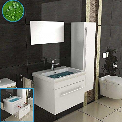 Badezimmer Badmöbel Set in Weiß Hochglanz, 1x Keramik Waschbecken (60 cm) mit Nano Beschichtung, 1x Unterschrank, 1x Spiegel/ Modernes Waschtisch, Waschplatz