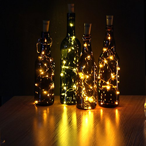 JOJOO Juego de 6 botellas de vino blanco cálido Cork Lights - 32inch / 80cm 15 LED de cobre Wire Lights luces estrelladas de cadena LED para la botella DIY, Halloween, boda o luces de humor LT0156
