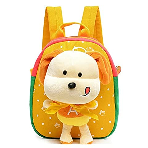 Flyingsky 3D Removable Puppy Doll Kids Backpack Animal Baby Boys Girls Kids Bag Yellow