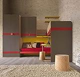 Dafnedesign.com Jugendzimmer - L 355 cm - P. 214 cm - H. 261,2 cm - komplett: No.1 Etagenbett, 1 Einzelbett, 1 Leiter, 1 Aufbewahrungskiste, 1 Schrank, mit Flügeltüren, 1 Schiebetüren, 1 Schiebetüren, Finish: Eiche - Mandel, Warmgrau, dunkel, Ocra, Rot - 100 % Holz - 100 % Made in Italy (SF30)