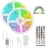 LED Strip Dreamcolor 10m, Sync mit Musik LED Stripes Lichtband, Eingebauter Digital IC, Timerfunktion, Ein-Tasten-Dimmen, 5050 RGB Strip wasserdichte LED Lichterkette für Deko Party
