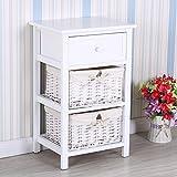 UEnjoy Bedside Cabinet White Chest of Drawers Storage Unit Wooden Wicker Baskets (1 drawer & 2 Wicker Storages)