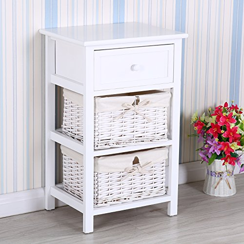 UEnjoy Weiß Nachttisch Kommode Sideboard mit 1 Schublade & 2 Rattankorb