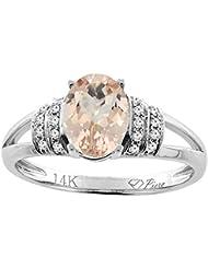 Revoni 14ct oro colgantes Natural Oval 8 x 6 mm anillo de diamantes