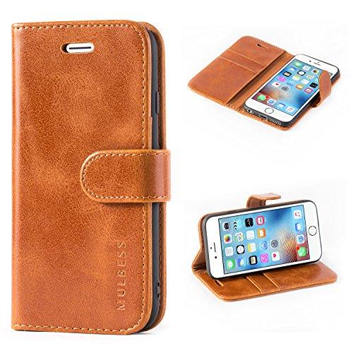 Mulbess Ledertasche im Ständer Book Case / Kartenfach für Apple iPhone 6s / 6 (4,7 Zoll) Tasche Hülle Leder Etui,Braun