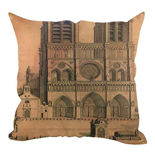 OPAKY Moderner Stil Paris Notre Dame Leinen Hug Kissenbezug Home Decoration 45x45cm