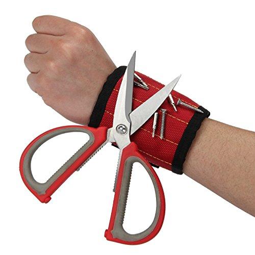 ANPHSIN Magnetisches Armband eingebettet mit 5 super leistungsstarken Magneten - Magnetisches Armband-Armband für die Befestigung von Schrauben, Nägeln, Scheren und kleinen Werkzeugen