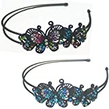 Set Of 2 Butterfly Headbands Design Of Two Butterflies Decorated With Sparkling Stones U86121-0234-2mb