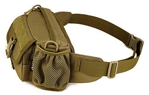 FEEHAN Tactical Hüfttasche Bauchtasche Militär Gürteltasche mit 5 Fächer inkl. Reißverschluss für Outdoor Sport Trekking Wandern Running Braun