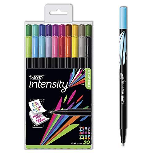 BIC Intensity - Rotulador de punta fina (0 mm, 4 mm) para uso escolar y de escritura. - Diversidad de bolígrafos de fibra fina en diferentes colores. - Ideal para el uso diario - Juego de 20 unidades