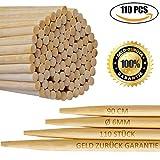 110er Pack | 6mm 90cm Extra lange Lagerfeuer Spieße | Bambus Marshmallow-Spieße | Grillspieße für Hot Dogs, Kebab, Wurst | Umweltfreundlich | 100% biologisch abbaubar