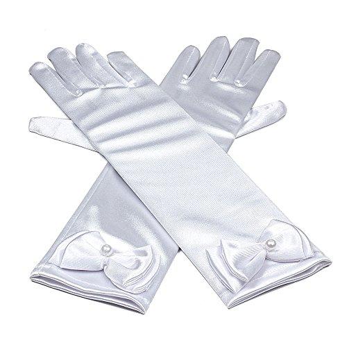 Hijos raso elastico vestido largo dedo guantes niñas