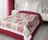 Eurofirany Patchwork Love02 für Kinder, 170x210, beige, rot. Tagesdecken, Mikrofaser, 210 x 170 x 2 cm
