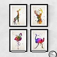 Set de 4 láminas para enmarcar, Flamenco, Avestruz, Ciervo y Jirafa, estilo acuarela.Posters con imágenes de animales, tamaño A4. Decoración de hogar. Papel 250 gramos alta calidad. Decora el domitorio, salón, o haz el regalo perfecto.