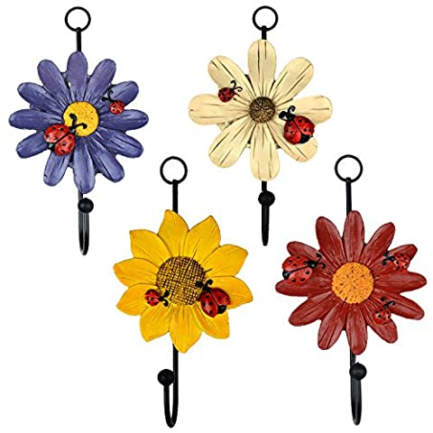 Set of 4 Resin Painting Beautiful Flower Iron Hanging Coat Hat Wall Hooks by Gardeningwill