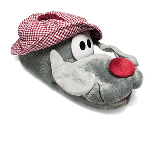 SAMs Plüsch Tier Hausschuhe Opa Hund Schlappohr 38-46 Anti Rutsch Sohle Schlappen Pantoffel Puschen, TH-Husig Grau
