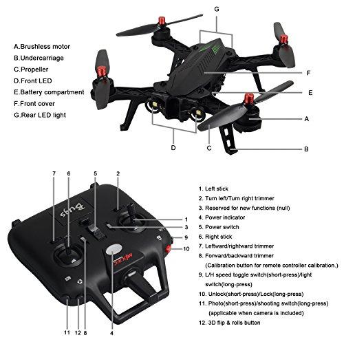 MJX B6 Bugs6 Drone Smart Transmitter Alarmfunktion Quadcopter Unterstützen GoPro Kameras und Sportkameras mit Brushless Motor / High Capacity Battery / Verbessern Propeller von TIME4DEALS - 6