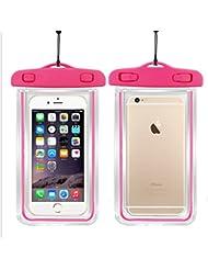 Sac étanche téléphone avec lumières de nuit, Sac transparent écran tactile smartphone pour nager plage parc aquatique, canoter, pêche, natation, plongée