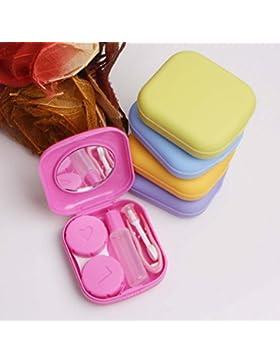 Cdet Caja de lentes de contacto Caja de compañero invisible de plástico con espejo Pequeña caja de lente de contacto...
