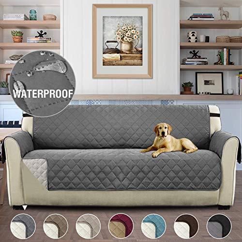 H.versailtex copridivano 3 posti impermeabile divano protector mobili coperture su due lati per cani/gatti letto con divano slipcovers 190 x 167cm, grigio