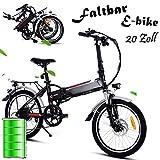 Qulista Klapprad E-Bike 20 Zoll Mountainbike Pedelec Falträder Elektrofahrrad mit 250W Hochgeschwindigkeits-Bürstenlose Motor und 36V Große Kapazität Lithium-Akku