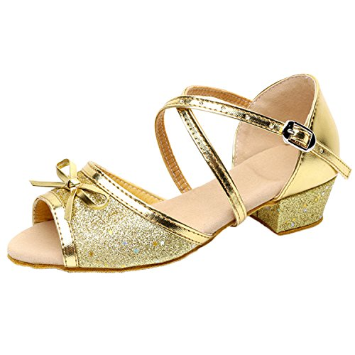 Oasap Girl's Open Toe Sequins Low Heels Latin Dance Shoes Silver