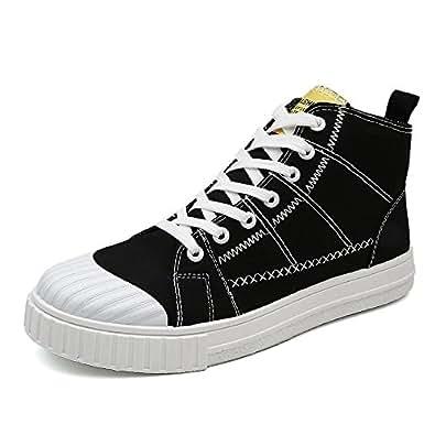 Yaojiaju Segeltuch-Turnschuhe, Flache Sport-Schuhe beiläufige Lace up-Müßiggänger-Hohe Spitzenbequeme gehende Turnschuhe für Männer (Farbe : Black, Size : 41 EU)