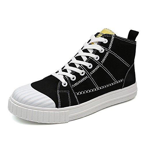 Shengjuanfeng Männer Flache Sportschuhe Casual Lace Up Loafers High Top Monochrome Canvas Sneakers (Color : Schwarz, Größe : CN25.5) -