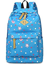 HAPPYTIMEBELT Double Zipper Flower Polk Dot Pattern Printing School Backpack Student Book Bag
