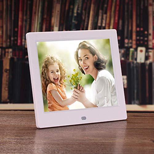 Jackeylove Digitaler Bilderrahmen 8 Zoll 1024 × 768 HD-Bild-Video 1080P-Rahmen, MP3 Music, unterstützt mehrere Dateiformate und externen USB SD-Speicher,White
