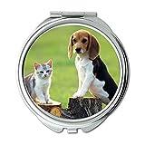 Yanteng Spiegel, Reise-Spiegel, Deutscher Schäferhund Lustiger Hund und Katze, Taschenspiegel, 1 X 2X Vergrößerung