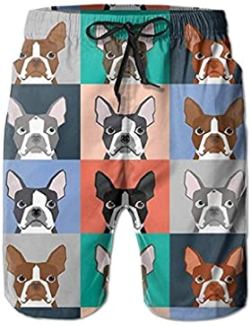 Funny Caps Boston Terriers Tile Bulldaog Pattern Men's/Boys Casual Swim Trunks Short Elastic Waist Beach Pants...