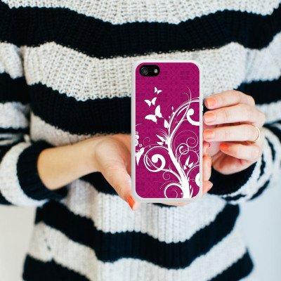 Apple iPhone 4 Housse Étui Silicone Coque Protection Rose vif Papillons Fleurs Housse en silicone blanc